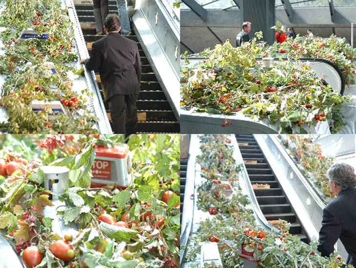 Heinz Soups - Tomato. A combination of real and artificial tomato vines helped to create the impression of tomato crops growing in this London underground location.