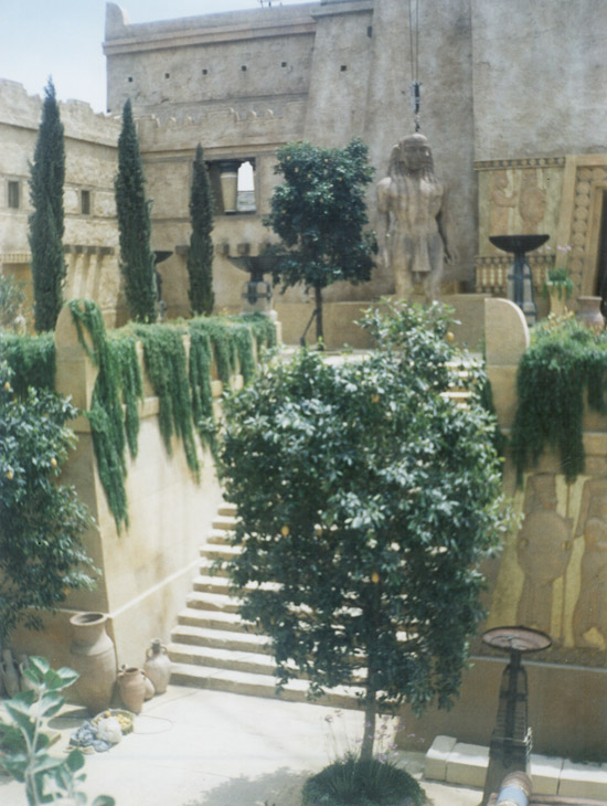 Troy - Film Set. Artificial creepers and hanging vines helped to establish this ancient city film set.
